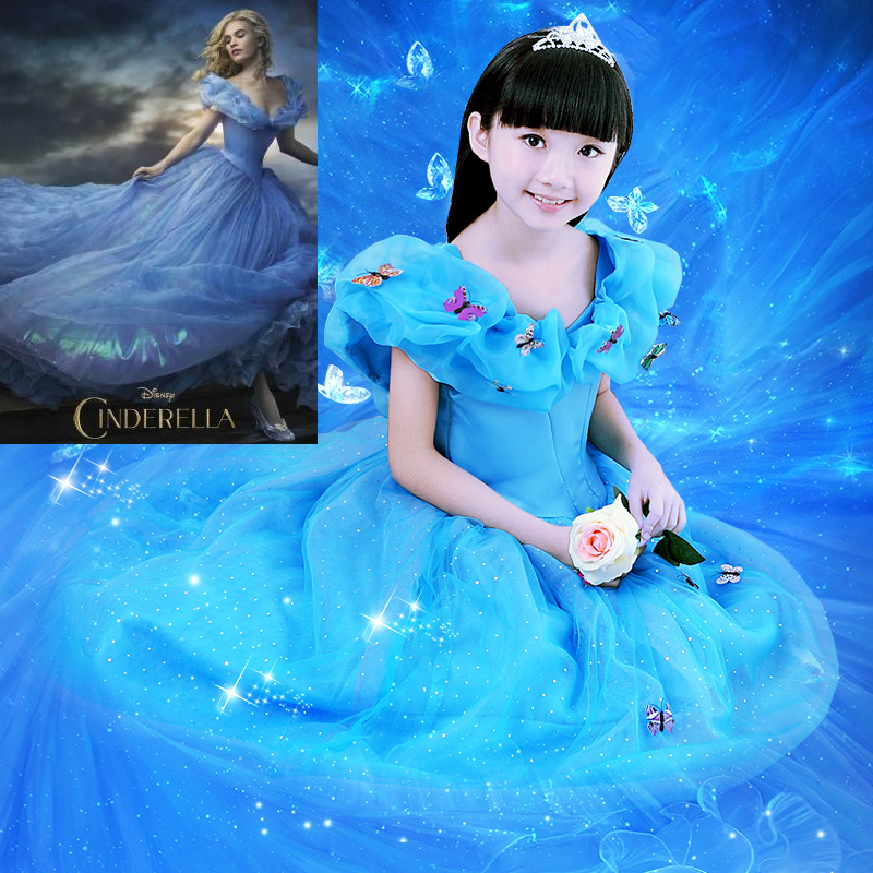 Humble Sophiashopping 2016 New Cinderella Princess Cosplay Dress Halloween Party Costumes For Kids Girls 3-7 Years Anime Cartoon Rich In Poetic And Pictorial Splendor Home