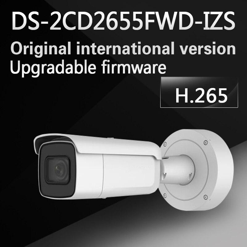 DHL free shipping English version DS-2CD2655FWD-IZS 5MP WDR Bullet Network ip cctv Camera POE Vari-focal motorized lens H.265+