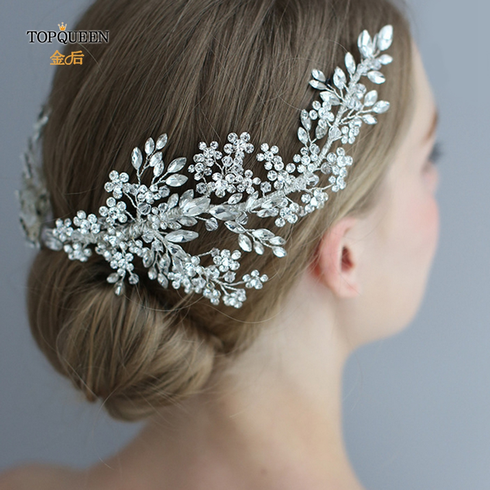Image 3 - TOPQUEEN HP253 Luxury crystal wedding hair jewelry bridal accessories wedding hair vine clip wedding tiara Bridal headband-in Bridal Headwear from Weddings & Events