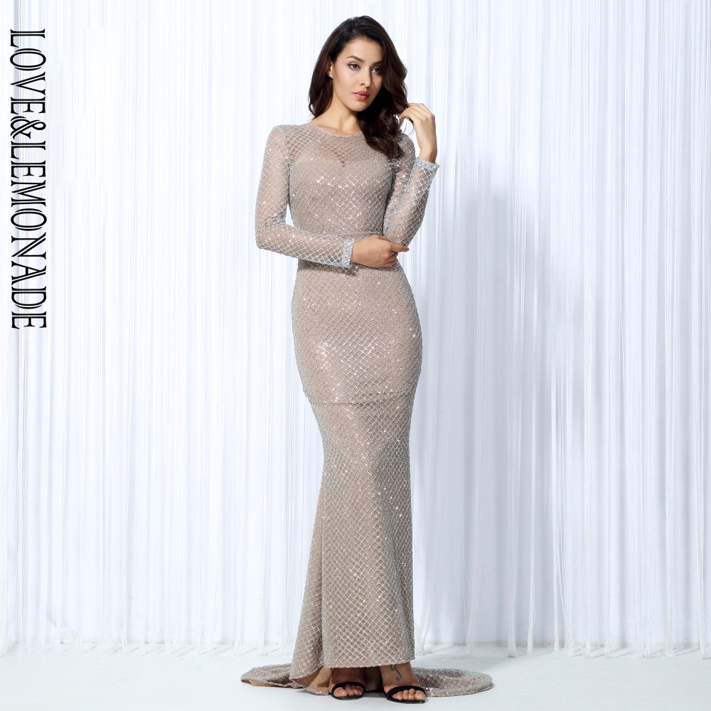 Love&Lemonade . White Flash Lattice Beads Slim  Long Dress  TB 10036