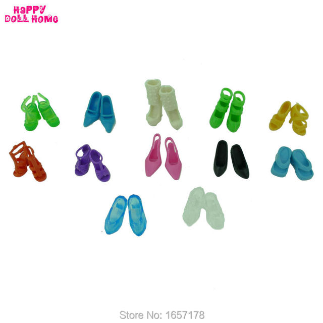 12 Pairs Mixed Fashion Colorful High Heels Sandals Accessories For Barbie Doll Shoes Clothes Dress Prop Girl Baby Best Gift Toys 4