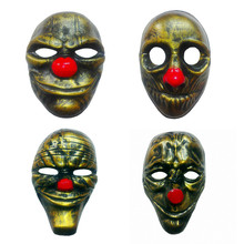 Gold 4pcs Payday 2 Masks Dallas/Wolf/Chains/Hoxton cosplay halloween horror clown mask payday masqueradeCarnaval Costume men браслет hoxton