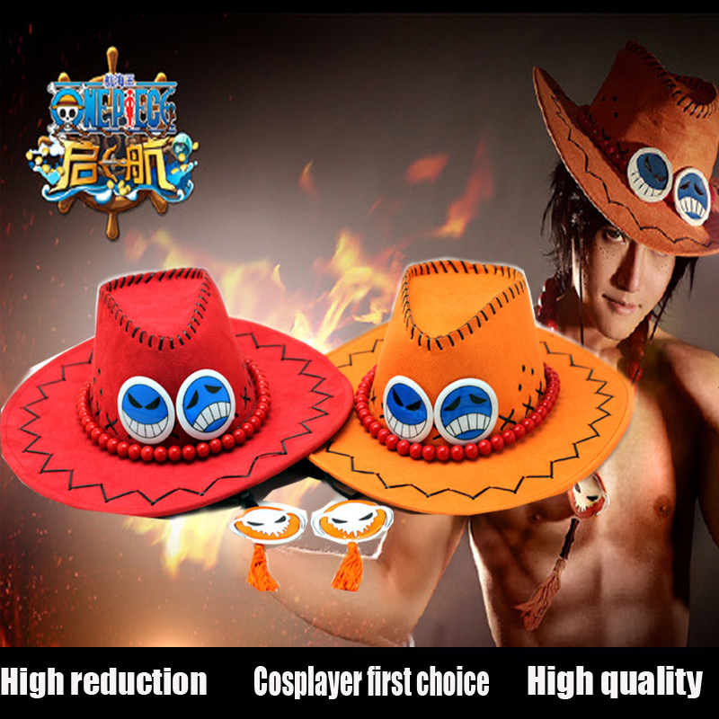 Ace One Piece Hat Anime Cosplay Cap Hats Toy Cartoon Hats Cowboy Hat Doll Red Orange Color to Choose Free shipping