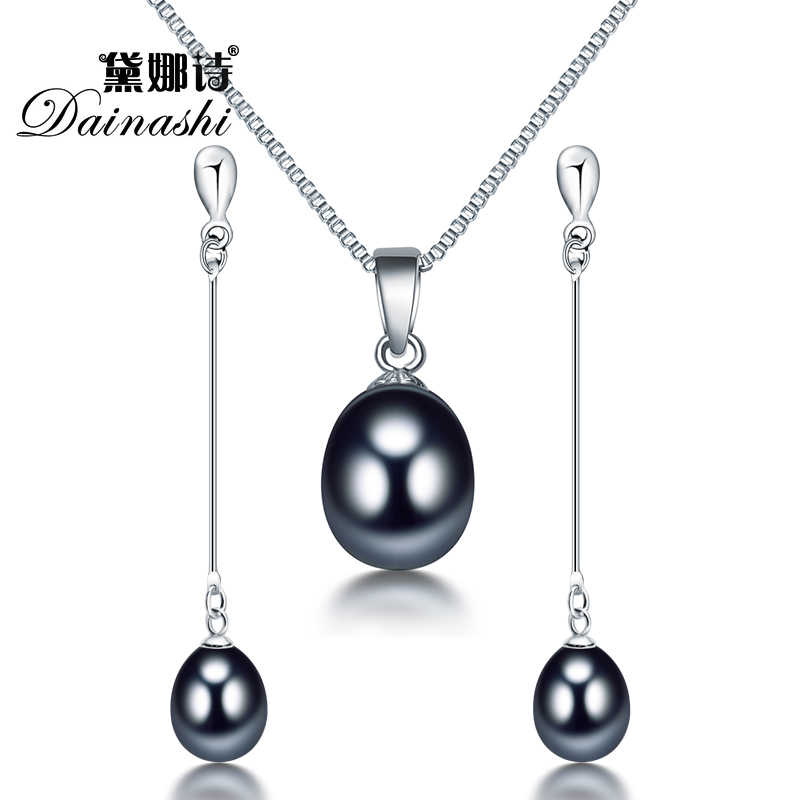 Dainashi Hot women water drop white, pink, purple, black pearl long earrings pendant elegant sets with fine 925 silver in party