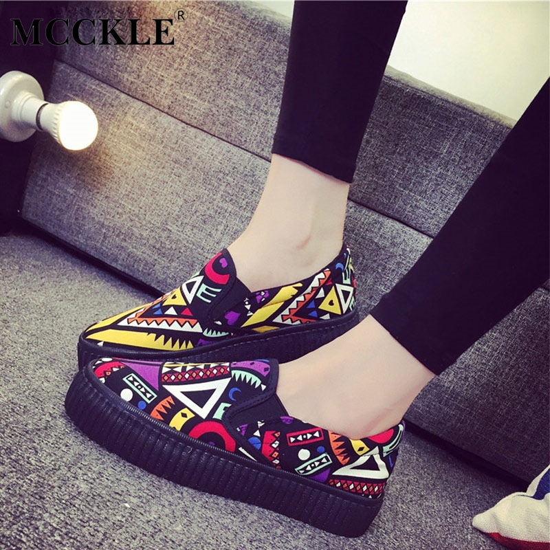 MCCKLE Flat Platform Graffiti Women Loafers Autumn Slip On Canvas Shallow Ladies Shoes 2018 New Fashion Casual Student Footwear slip-on shoe