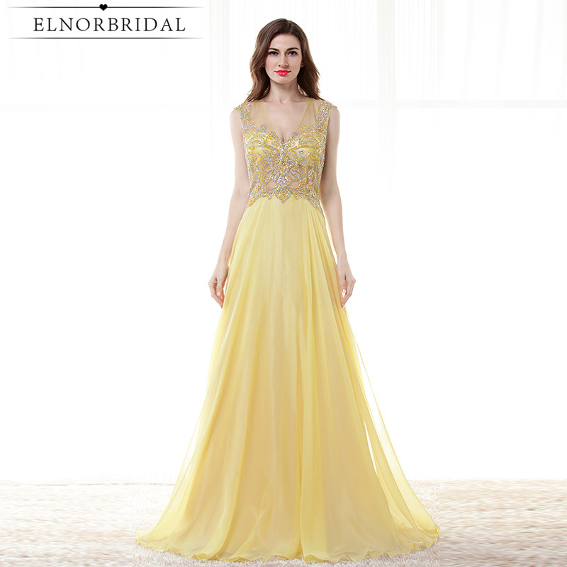 Yellow Beading Prom Dresses Long 2017 Sexy Girls Brithday Party Dress Open Back Special Occasion Formal Evening Gowns