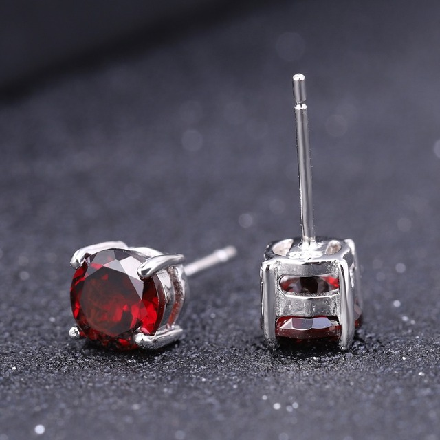 Gem's Ballet 5mm 1.28Ct Round Natural Red Garnet Gemstone Stud Earrings Genuine 925 Sterling Silver Fashion Jewelry for Women