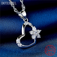 New Arrivals 925 Silver Heart Charm Necklace Woman Fashion Silver Flower AAA Zircon Pendant Necklace Jewelry