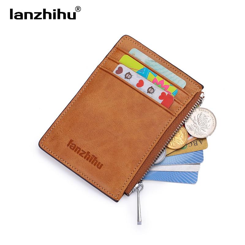 2017 RFID Blockering Äkta Läder Slim Wallet för män Små Korthållare Luxury Brand Designer Kort Plånböcker Mini Zip Coin Purse