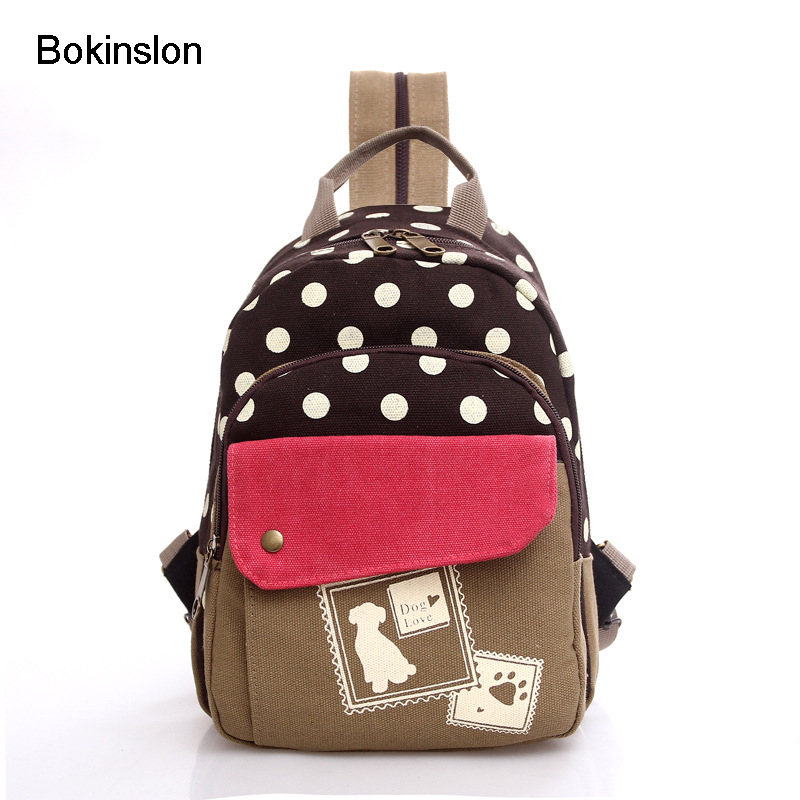 Bokinslon Casual Woman Backpack Fashion Backpack For Girl School Bag Casual Polka Dot College Wind Bag Backpack For Girl bokinslon backpacks brand womens fashion classic retro women backpack bag college wind pu leather school girl backpack