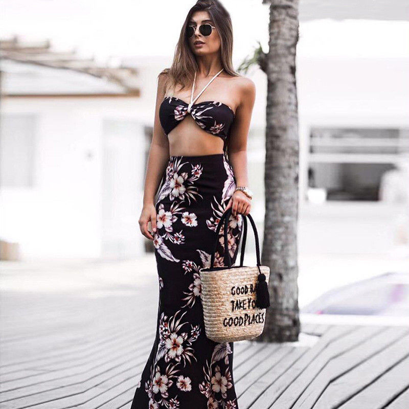 2cd4c628ca 2018 new summer Beach Women Evening Party Dress Maxi Long Skirt + sexy  stapless halter lace up Crop Top 2pcs fashion outfit Set