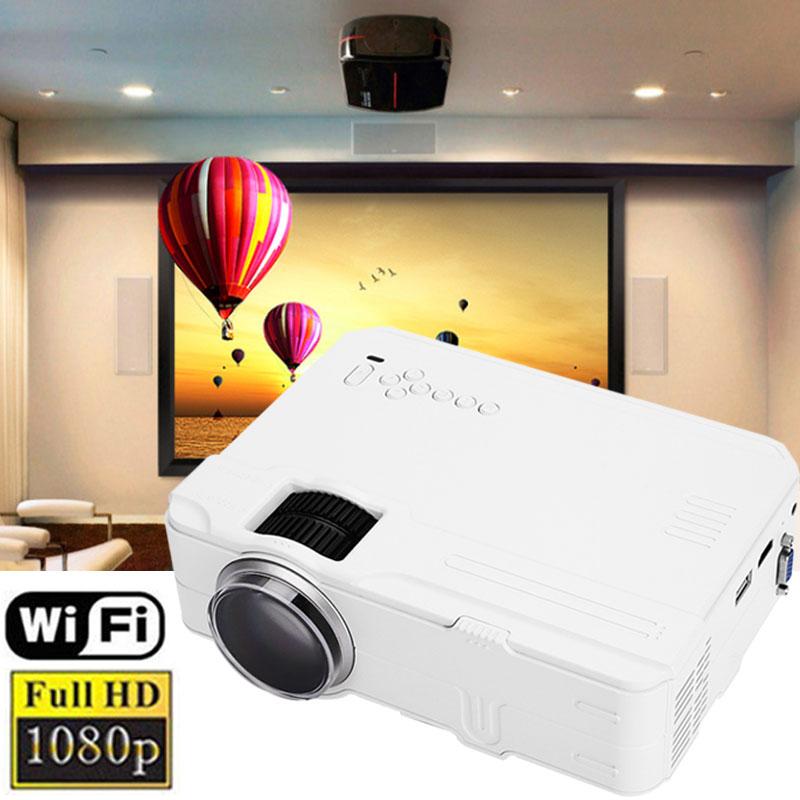 HD 1080P 1200 Lumens 3D Wifi LED projector mini Home Theater Entertainment Multimedia Portable HDMI/VGA/USB/AV Projector School цены
