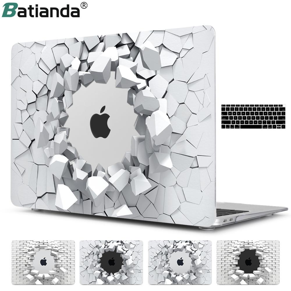 New 3D Explosion Stone Design Hard Cover Case For New Macbook Pro 13 15 Touch Bar 2019 Air 11 12 13 A1932 With Keyboard Cover