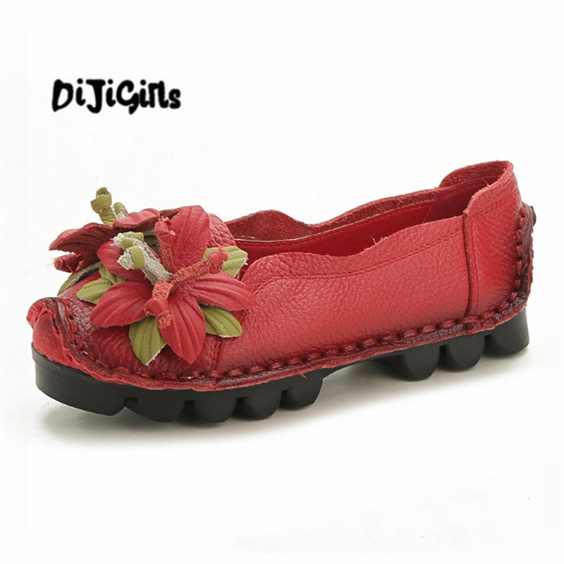 National Wind Flowers Flat Shoes Women Handmade Genuine Leather Shoes Women Retro Soft Bottom Flat Shoes Autumn Flats Shoes vintage embroidery women flats chinese floral canvas embroidered shoes national old beijing cloth single dance soft flats