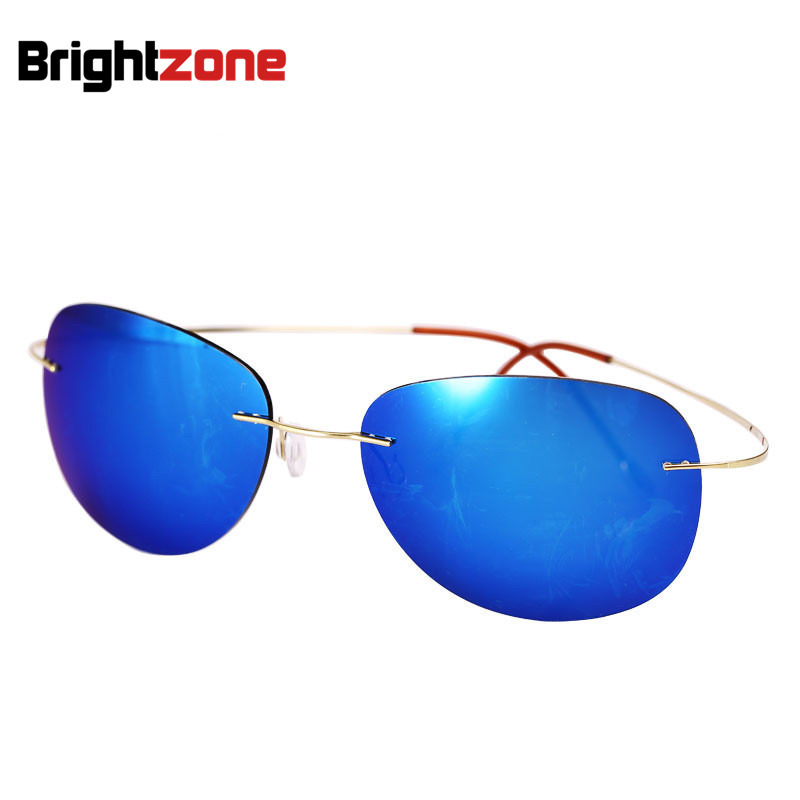 Urltra-Light New Fashion Men Women Titanium Rimless Driving Polarized Sunglasses