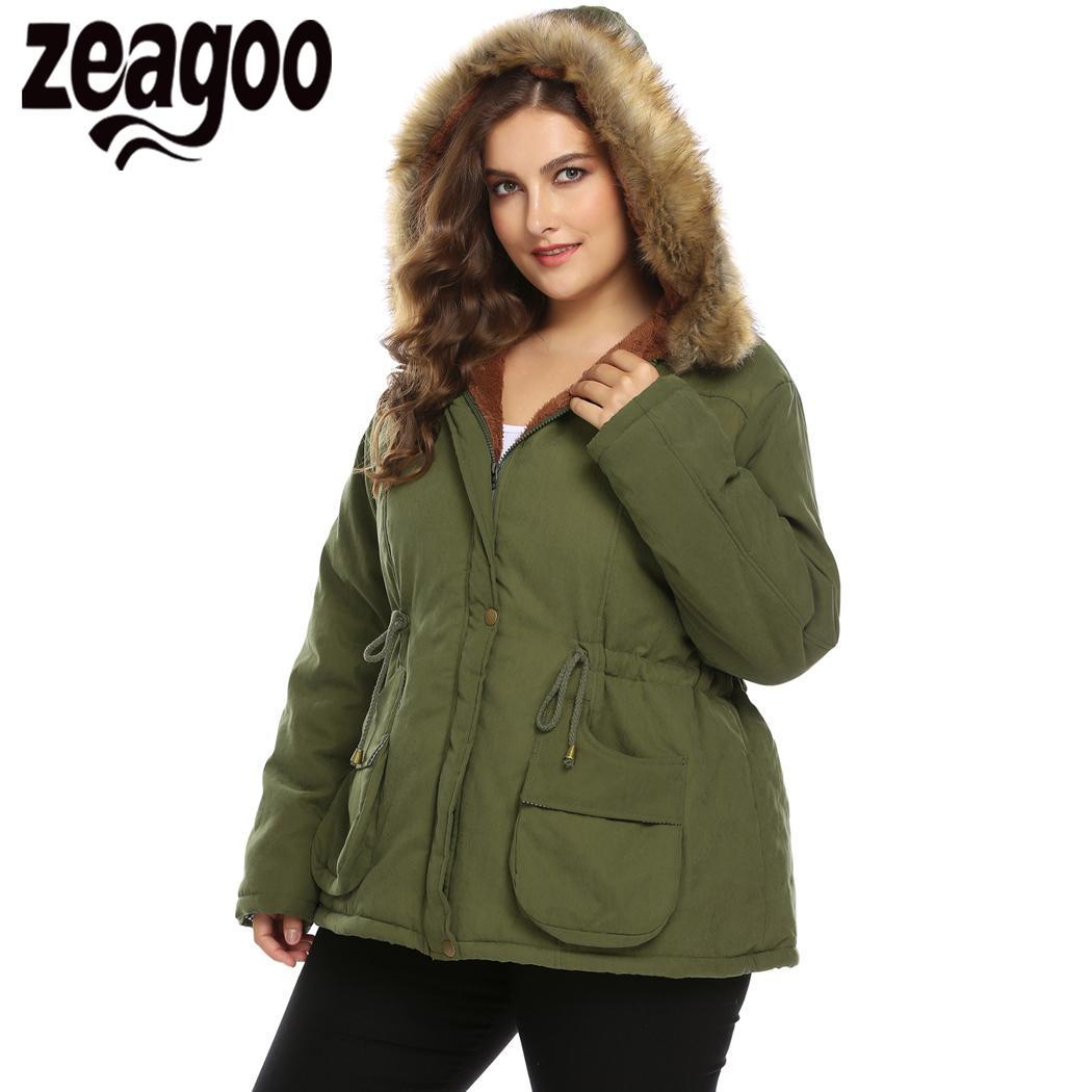 zeagoo New Long   Parkas   Female Womens Winter Jacket Coat Thick Cotton Warm Jacket Womens Outwear   Parkas   Plus Size Fur Coat 2018