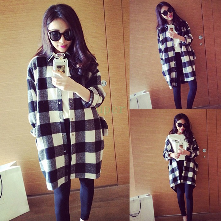 Chemise femme carreau long coupe vent femmes trench style - Mode carreaux ...