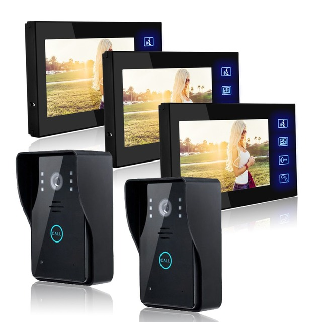 Delicieux 2 Camera 3 Monitor Wired Video Door Phone Intercom Home Security 7 Inch  Color LCD Color