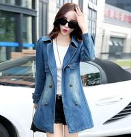 Autumn Fashion Women Denim Trench Long Sleeve Double Breasted Woman Denim Coat Loose Washed Jean Long