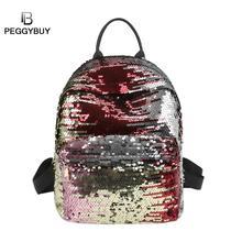 패션 디자인 sequins PU 가죽 미니 배낭 여성 모든 일치 배낭 소녀 작은 여행 mochia Bling 어깨 가방