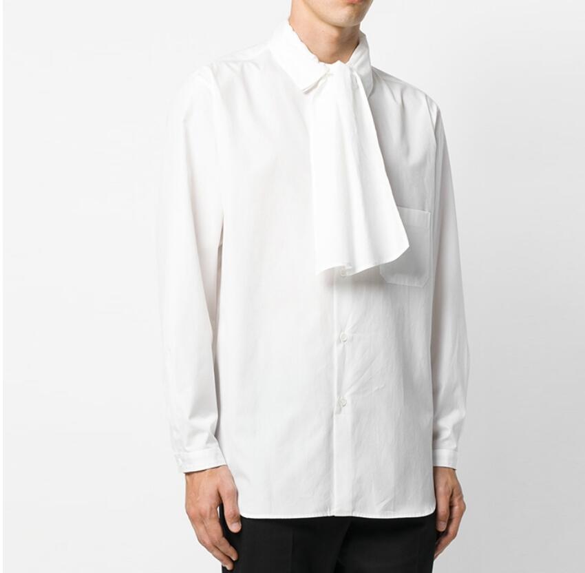 S-5xl nouveaux hommes chemises couture Double couches écharpe coton nouveau automne hiver à manches longues chemises coiffeur chanteur C