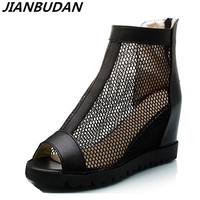 Size 35 43 High Quality Mesh Breathable Wedge Sandals 2017 Summer New High Heeled Women S