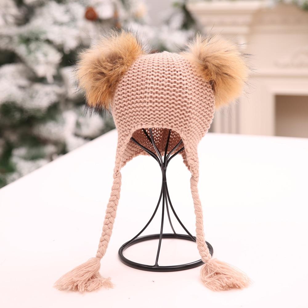 Children Baggy Warm Tassel Crochet Winter Wool Knit Ski Beanie Skull Slouchy Winter Twist Hat Boy&girl Suitable For Men And Women Of All Ages In All Seasons
