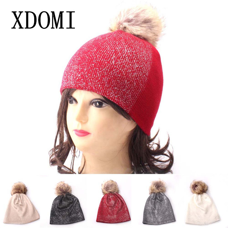 ... Female Shining Skullies Beanies Bonnet. XDOMI 2018 Winter Hats For Women  Pom pom Knitted Hat Fashion Brand Cap Casual Warm Hat 0eeed7163670