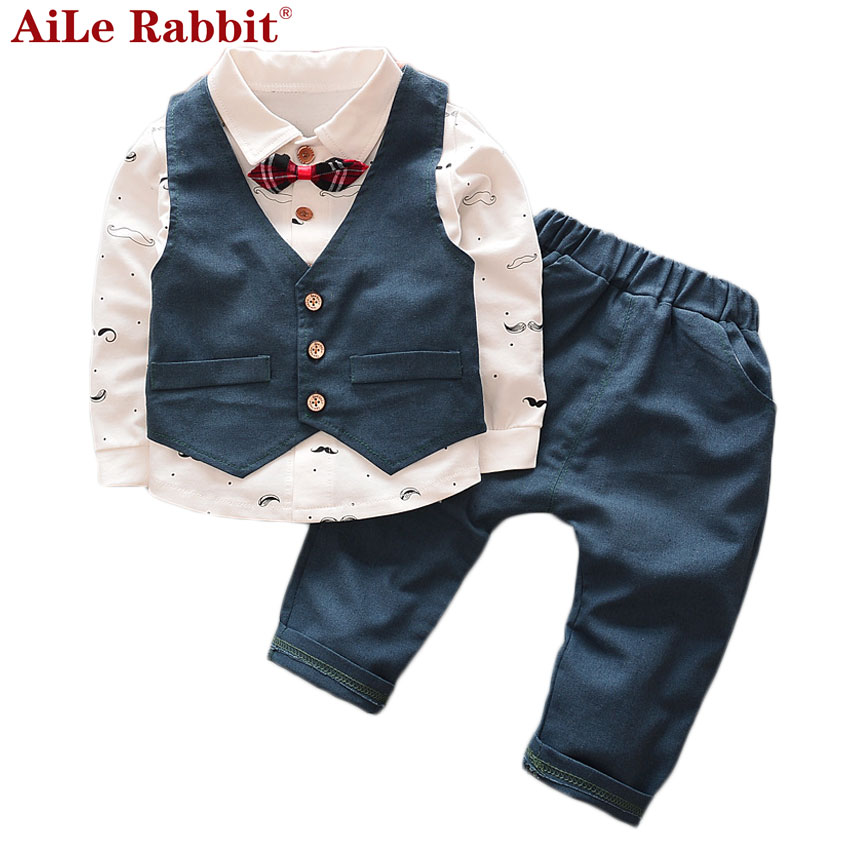 AiLe Rabbit 2017 Spring Autumn Baby Boy Clothes Children Avtive Cartoon Bear Clothing 3pcs Sets Boys Coat+T Shirt + Pants Cotton 2017 new cartoon pants brand baby cotton embroider pants baby trousers kid wear baby fashion models spring and autumn 0 4 years