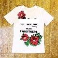 No verão de 2017 a nova gola redonda algodão lantejoulas flor prego talão letras T-shirt das mulheres