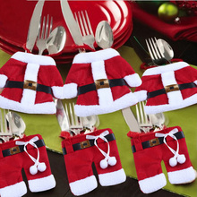 1 Set Cute Christmas Decor Snowman Holder Pocket Dinner Cutlery Bag Tableware Kitchen #74051