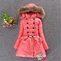 2014 inverno novo bebê meninas roupas esportes ao ar livre casuais casaco longo para baixo parkas casaco, grosso das crianças outerwear quente para as crianças
