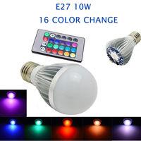 10 W 16 cambio de color RGB LED Bombilla AC 85-265 V + ir Control remoto