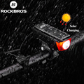 ROCKBROS IPX4 водонепроницаемые фонари велосипедные 2000 мАч USB зарядка на солнечных батареях велосипед свет колокол 120 дБ смарт-переключатель неск...