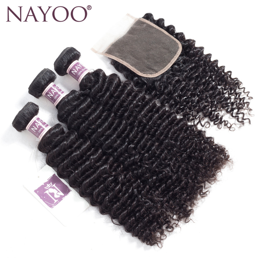NAYOO Human Hair Bundles With Closure Peruvian Kinky Curly Hair Extension 3 Bundles Hair Weave With Closure 4*4 Free Part