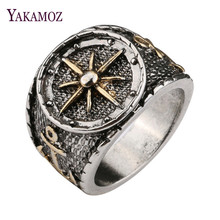 YAKAMOZ Cool Punk Captain Rudder Signet Ring Fine Quality Anchor Silver Color Alloy Band Ring for Men Women Party Gifts