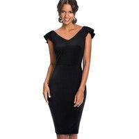 אלגנטי של נשים מקסימה סקסי V צוואר ראפלס המפלגה עיפרון Bodycon שמלת גברת שמלת קיץ Vintage נדן Slim השחור EB428