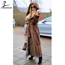 цены FURSARCAR New Style Women Real Natural Mink Fur Coats X-long Length Whole Skin Thick Warm Jacket Female Luxury Genuine Fur Coat