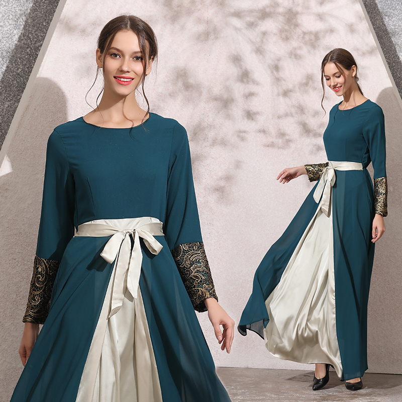 993aa35221ee2 HANZANGL Spring Autumn 2019 New Muslim Women Soft Chiffon Dress Middle  Eastern Malaysia Casual Vintage Long Robe Costumes