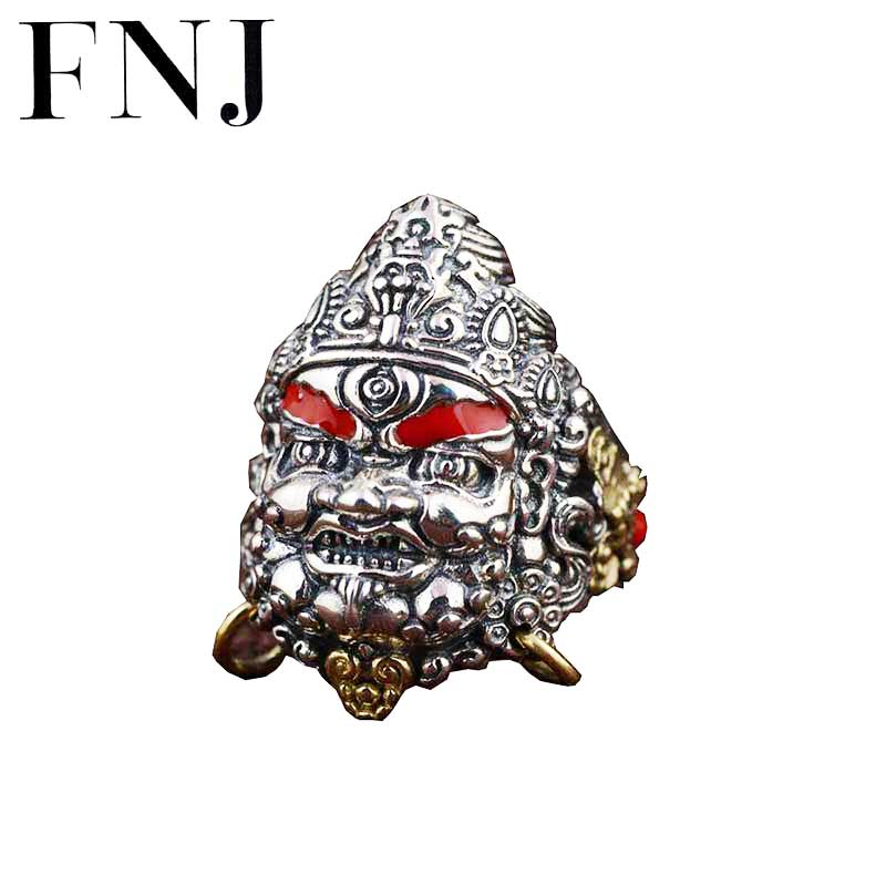FNJ 925 Silver Skull Ring Punk Skeleton New Fashion S925 Sterling Thai Silver Rings for Men Jewelry Adjustable Size Huangcaishen thailand imports skull blood new skeleton silver ring