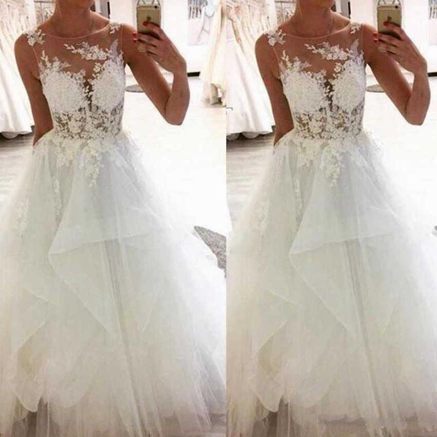 2019 אלגנטית תחרה חתונה שמלות סקופ צוואר שרוולים אפליקציות קו בתוספת גודל מותאם אישית שמלות כלה שמלות רשמיות כלה שמלה