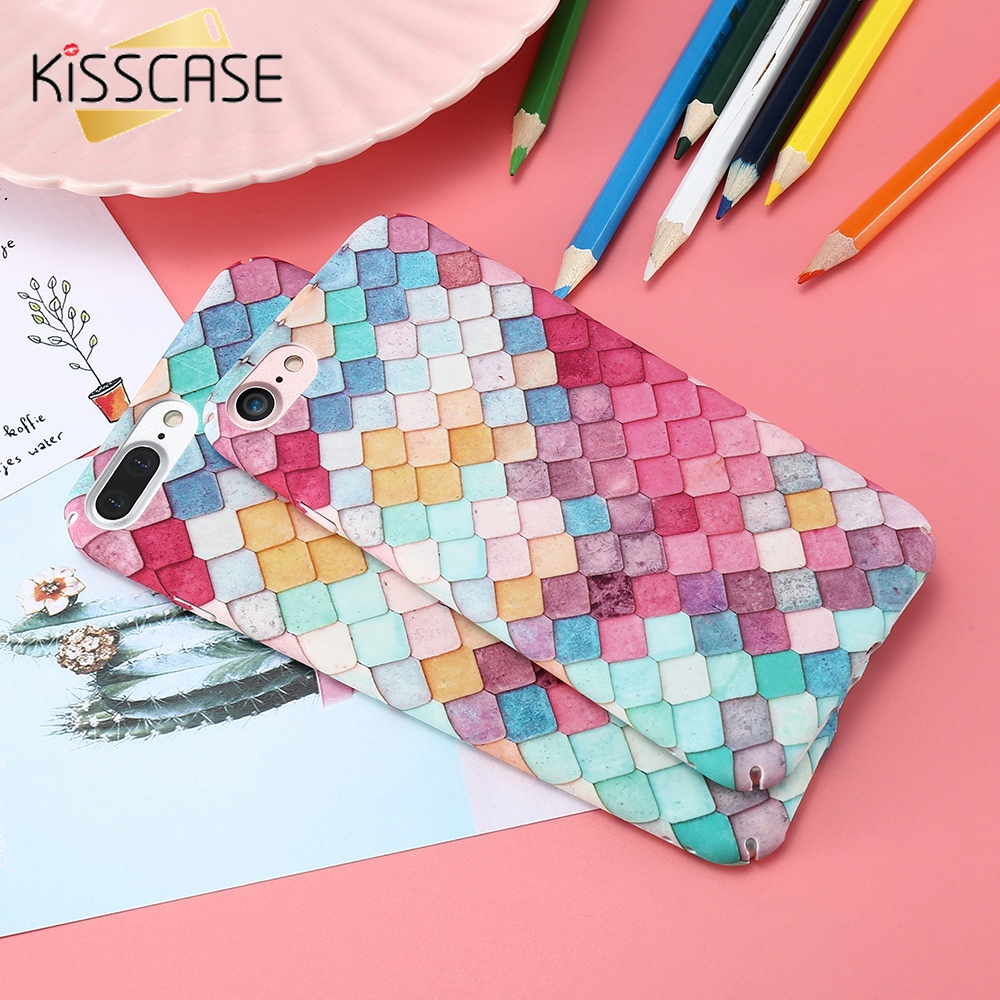 KISSCASE Colorful Grid Hard Phone Case For iPhone 7 7Plus 6 6SPlus Fashion Mermaid 3D Scale