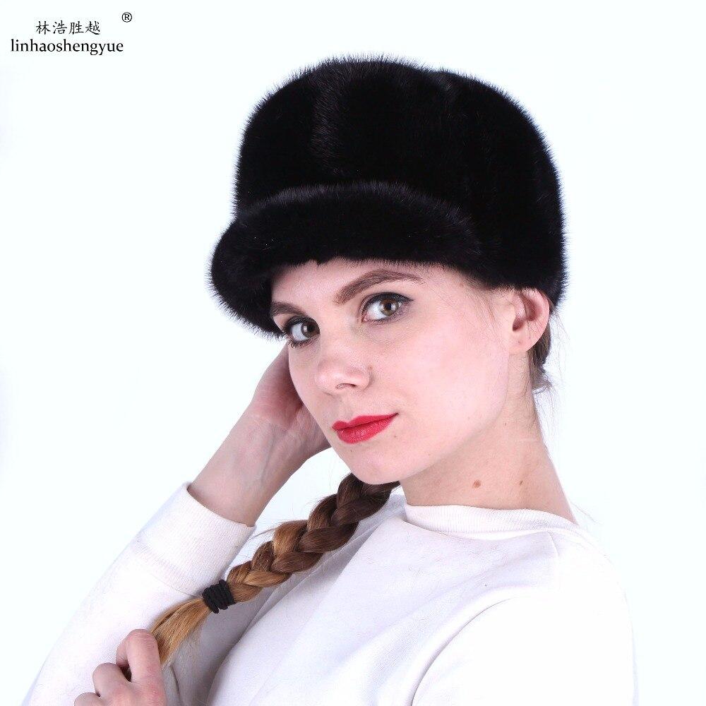 Настоящая зима 100% норковая шапка женская меховое оголовье теплая модная меховая шапка, универсальная для мужчин и женщин, бесплатная доста... - 3