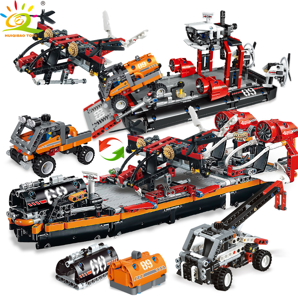 1031pcs 2in1 Ferry Boat with truck Building Blocks Compatible Legoingly Technic Ship Crane Bricks Educational toys for children