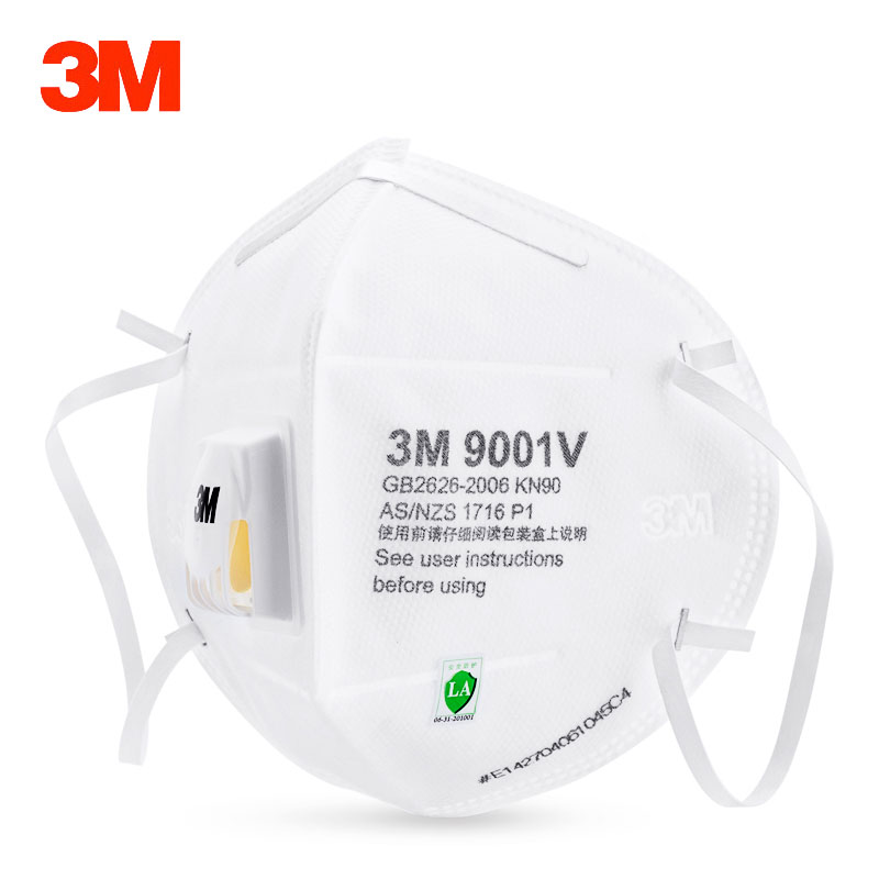 5pcs/lot 3M 9001V 9002V Dust Mask Anti PM2.5 Anti-fog Safety Masks Anti Influenza Breathing Valve KN90 Particulate Respirator