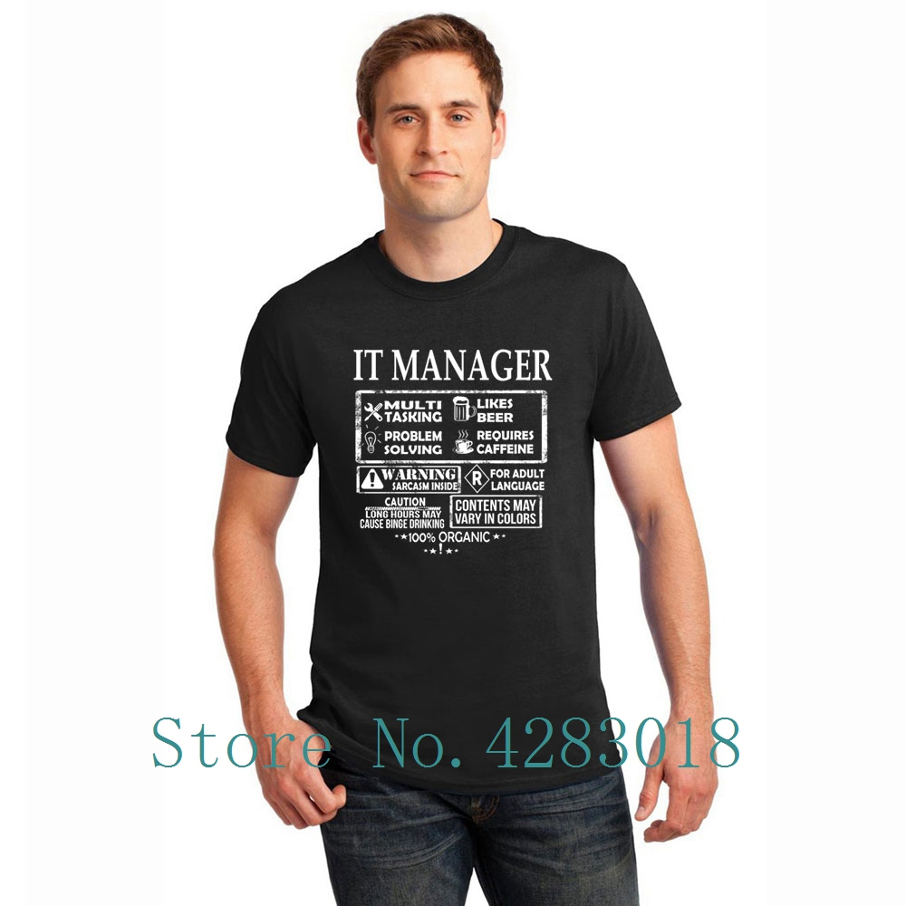 It Manager Which Is A Multi Tasking Job T-Shirt Man Round Neck Letter Humor Tshirt Gents Size S-3xl Funky High Quality image