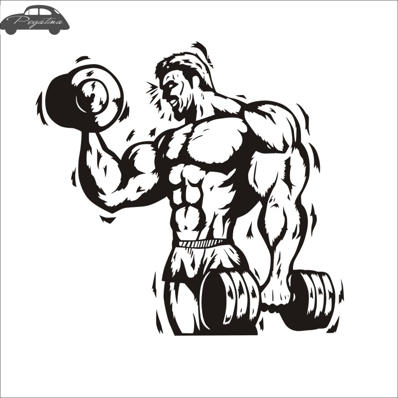 Pegatina Car Gym Sticker Fitness Dumbbell Decal Body-building Posters Vinyl Wall Decals Quadro Parede Decor Mural Gym Sticker
