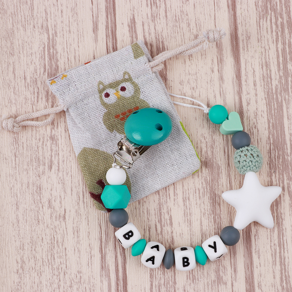 TYRY.HU Personalised Name Silicone Baby Pacifier Chain DIY BABY Teething Personalized Teether Pacifier Clip Customized Name Toy