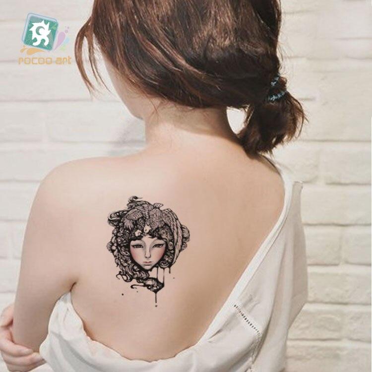 Grande beauté fille visage transfert d'eau corps Art temporaire tatouage autocollants gros Tatoos tatuagem pour femmes dos bras épaule