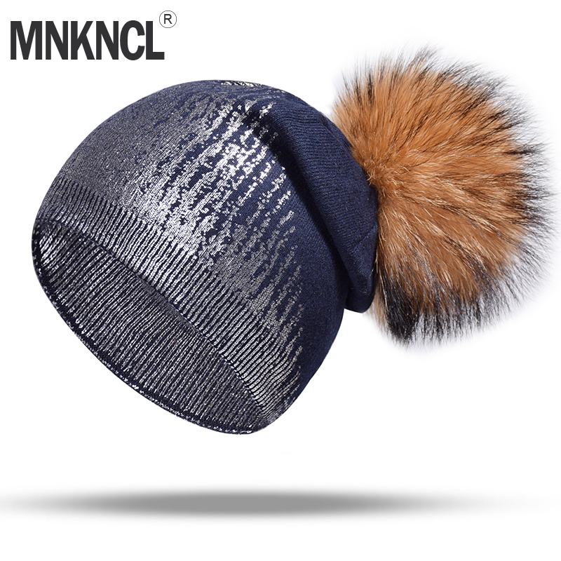 MNKNCL 2018 New Winter Hat For Women Silver Wool Knitted Hat With Real Mink Pompom Warm Hat Female   Skullies     Beanies   Bonnet